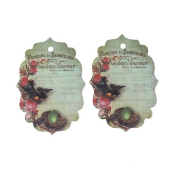 Pack of 10 mixed Vintage Style Fancy Shape Gift Tags  Bird Nest pattern 7cm x 6cm